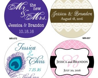 540 - 1 inch Custom Glossy Waterproof Wedding Stickers Labels - hundreds of designs to choose from - change designs to any color or wording