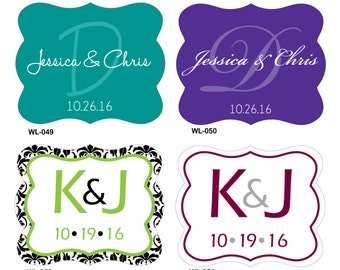 200 - 1.5 x 1 inch Die Cut Custom Glossy Waterproof Wedding Stickers Labels -many designs to choose - change designs to any color or wording
