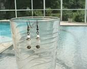 Antique Bronze-Smoked Quartz Oval-Dangle Earrings