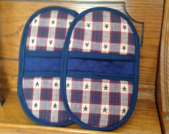 Mini Microwave Mitts-Oven Mitts- Pinchers-Blue, Red & Tan Plaid w/Blue Trim-Free Shipping