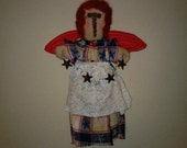 Primitive Americana Stump Angel Raggedy Cloth Doll