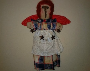 Primitive Americana Stump Angel Raggedy Cloth Doll