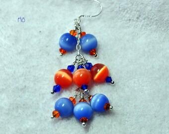 Orange and Periwinkle Blue Earrings,Colorful Earrings,Catseye Earrings,Beach and Resort Wear,Dangle Earrings - RIO