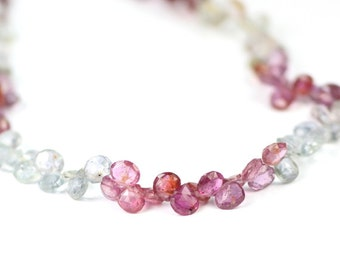 Umba Sapphire Micro Faceted Heart Briolettes Set of 5 Translucent Pink Blue Green Cream Precious Gemstone
