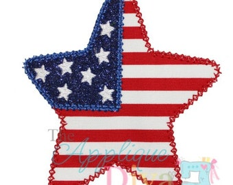 4th of July Flag Star Embroidery Design Applique