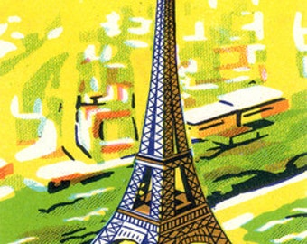 Paris In Spring Au Printemps  - France French Eiffel Tower Mid-Century Modern Style - Digital Image - Vintage Illustration Instant Download
