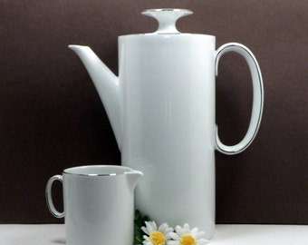 Sale White Coffee Pot and Creamer Vintage Thomas Medaillon White Thin Platinum Band Germany