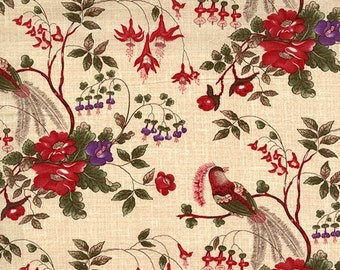 Enduring Grace - Cream Bird Floral by Kaye England from Wilmington Prints