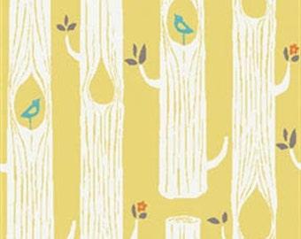 Circa 52 - Tree Stripes Sun Yellow - Organic Cotton Fabric by Monaluna from Birch Fabrics