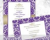 bridal shower invitations, wedding invitations, purple and gold bridal shower invitations, purple and gold graduation invitations, IN379