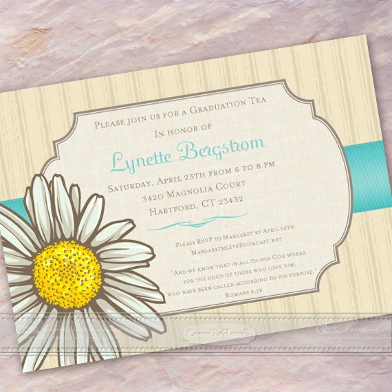 bridal shower invitations, daisy and turquoise graduation invitations, graudation announcements, daisy bridal shower invitations, IN368