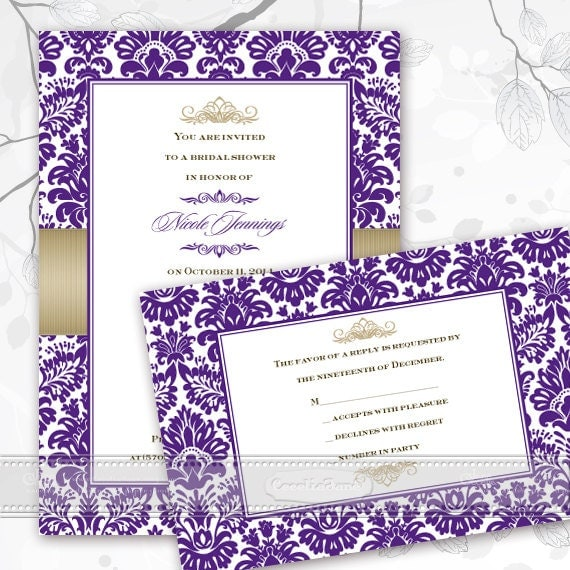 bridal shower invitations, wedding invitations, purple and gold bridal shower invitations, purple and gold graduation invitations, IN379