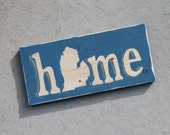 home. 12x5.5 repurposed pine. Michigan mitten art. painted royal blue, with gold accents. add a heart where you live. gift 20. READY to ship