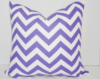 Purple & White Zig Zag Chevron Pillow Cover Decorative Throw Pillow Choose Size