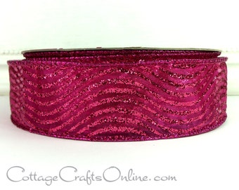"Wired Ribbon, 1 1/2"" wide, Fuchsia Pink with Waves of Glitter - THREE YARDS - Offray, ""Curtsy"" Bright Pink Christmas Wire Edged Ribbon"