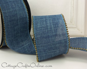 "Wired Ribbon 2 1/2"" Denim Blue Linen Style, Old Gold Beaded Edge, TEN YARD ROLL, d. stevens ""Rusty Bead"" Wire Edge Ribbon"