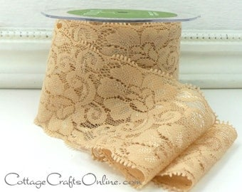 """Elastic Lace Ribbon 2 1/2"""" wide, Champagne, Beige, Tan - ONE YARD - May Arts - Use for hairbands, sewing, lingerie"""