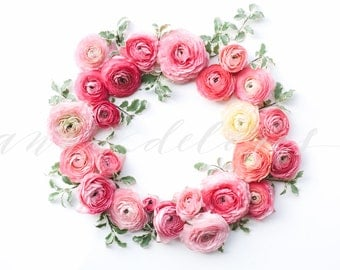 Styled Stock Photo, Flower Stock Product Photography, Floral Wreath Garland, Ranunculus, Flower Border, Flowers Custom Stock Photos