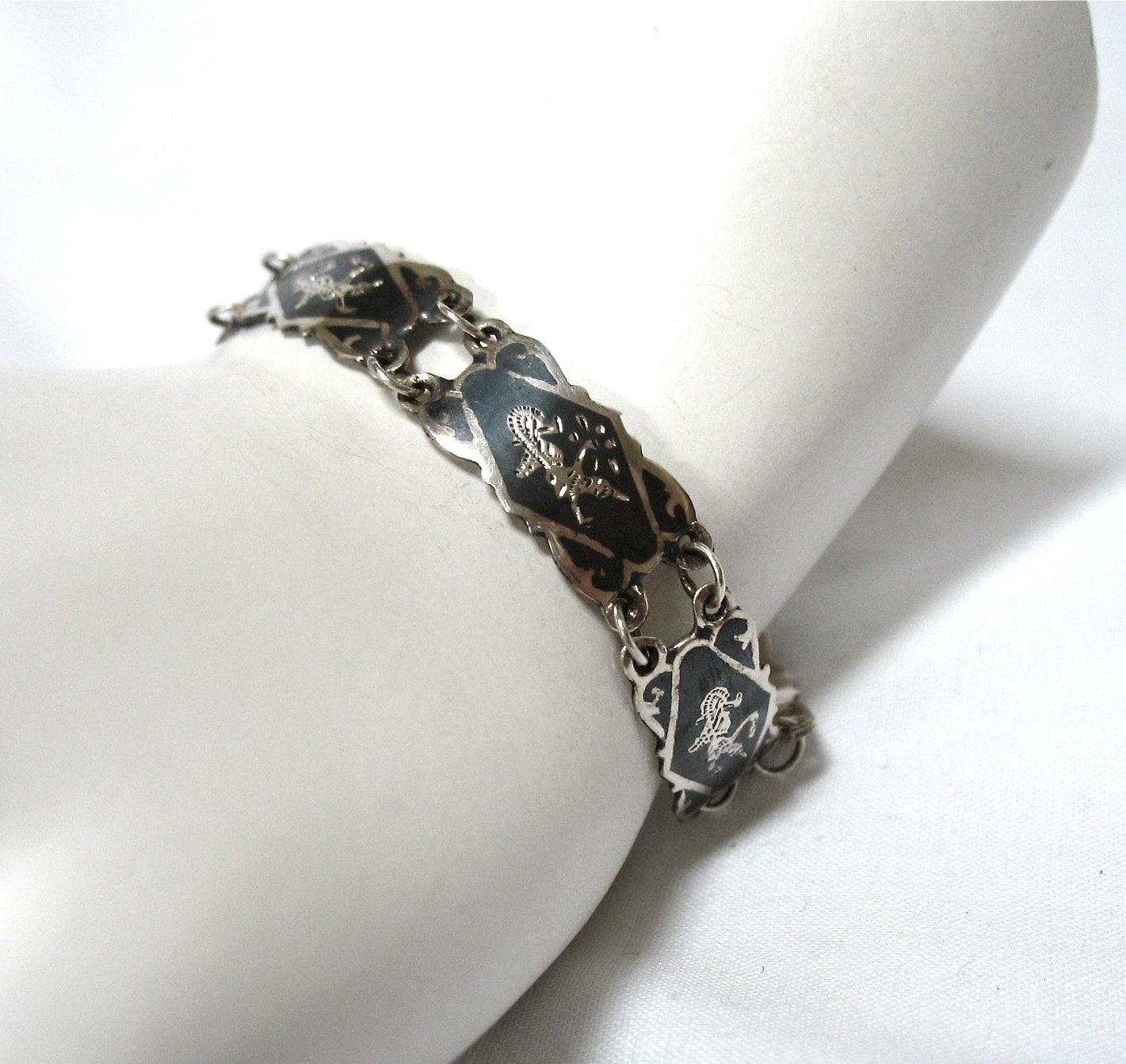 siam sterling silver niello bracelet black thailand 925