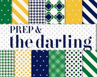 Digital Background Pattern paper: prep and the darling ( preppy navy blue green and yellow patterns polka dots  stripes houndstooth)