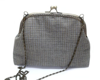 Clutch Framed Purse - Vintage Style Purse - Evening Handbag - Woven Fabric - Antique Bronze Frame and Chain.