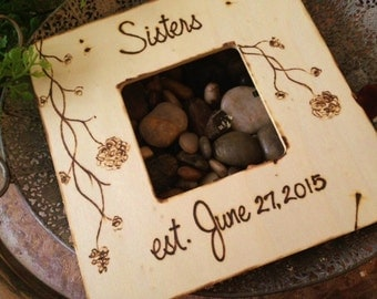Wedding Frame for NEW Sisters with YOUR Wedding Date and Beautiful Flowers - Special Wood Frame for Maid of Honor Bridesmaid Sisterhood