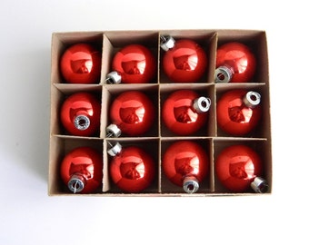 Dozen Vintage Red Christmas Ornaments in Original Box - Holiday Decor - Made in USA