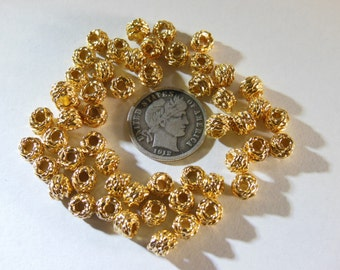 6 Vintage 6mm Gold Plated Spacer Beads