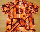 Mens Vintage 60's Sears Hawaii Tribal Lave Fire Hawaiian Aloha Shirt - L -  The Hana Shirt Co