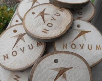 "25 ""YOUR COMPANY"" Custom Wood Rounds. Laser Engraved, LOGO, Monogram, Letter. Pendant, Necklace"