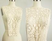 Large Cream Applique Back Piece Natural Cotton Floral Lace Collar Bodice Applique
