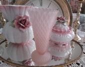 Pink frosted vase glass diamond point pattern Indiana glass company rose vase flower vase shabby chic pink vase shabby vintage wedding vase