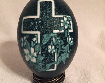 Hand Carved Cross with flowers on Emu Egg Shell NO PAINT was USED