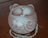 Cat Lover's   Soap on a Rope Sculpture Bar with Glycerin, Aloe and Vitamin E