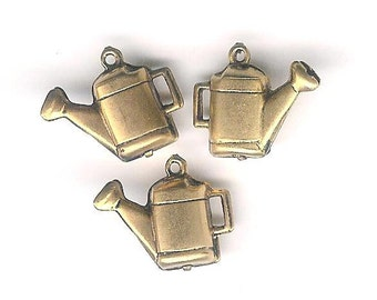 DOLLAR DEAL,Antique Gold Watering Can Charm- 3 pieces