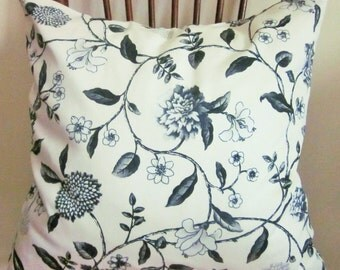 Floral Toile Pillow Cover, Oynx/Gray, Cottage Chic, French Country