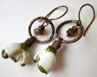 SnowDrop - primitive white & green snowdrop porcelain flowers, hammered copper hoop, brown andalusite nugget, wirewrapped copper earrings