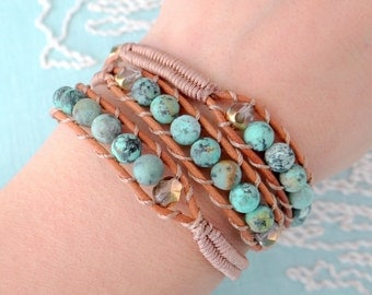 Beaded Leather Wrap Bracelet with Matte Turquoise Beads