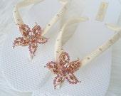 Gold Starfish Flip Flops. Ivory- Original Australian Star fish Crystal and SWAROVSKI Elements. Gold-Amber -StarFish Collection 404