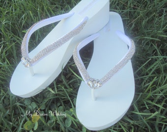 White Wedge Flip Flops.-Bridal Wedges -Czech Crystals Rhinestones flip flops. Crystals Trim Collection 01