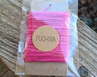10 Yards - Solid  Baker's  Twine / String • 100% Cotton • Eco Friendly • Gift Wrap • Bakery String • Fuchsia