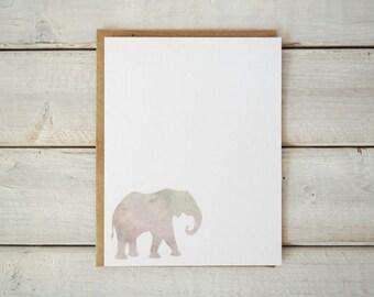 Elephant Notecards, Elephant Stationery, Elephant Gift, Elephant Paper Goods, Watercolor Notecards, Flat Notecards Elephant Cards Set of 12