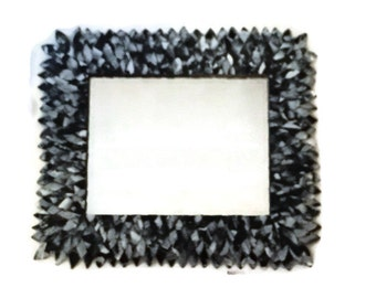Black and White Large Mirror, Leather Feather Wall Mirror, Bathroom Mirror