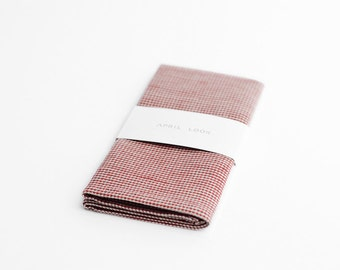 Pocket square, brick red, houndstooth handkerchief, MADE TO ORDER