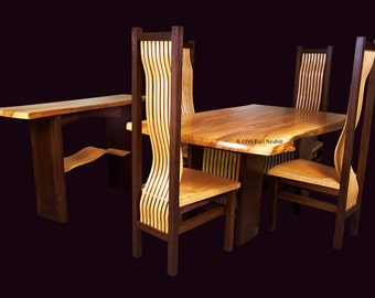 Live Edge Dining Table with Chairs