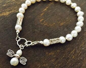 White Bracelet - Pearl Gemstone Jewelry - Beaded Jewelery - Dainty - Sterling Silver - Fashion - Angel - Wedding