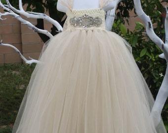 Flower girl dress. Bling Champagne TuTu Dress, baby tutu dress, toddler tutu dress, wedding,