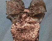 Sheer  Brown Equestrian Show Bow with Textured Snood
