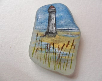 SALE Point of Ayr Lighthouse, Wales - Original miniature painting on English sea glass