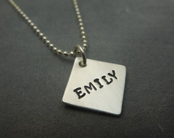 sterling silver hand stamped  necklace